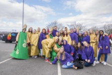 Mixed group of student union member and NWRC College Staff in fancy dress