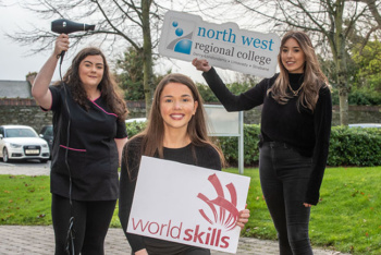 NWRC Limavady Campus Hairdressing students Brooklyn Scargill, Aine Brolly, and Caitlín McVey, who all finished in the top ten at Worldskills. (Picture Martin McKeown).