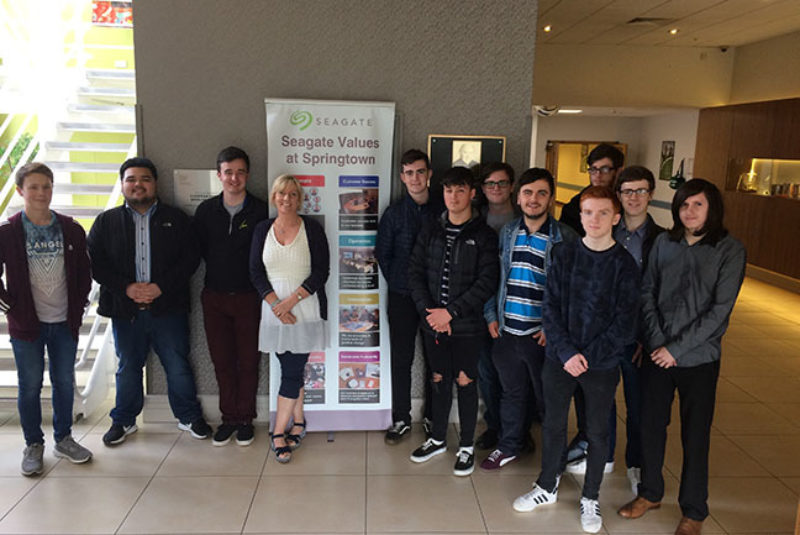 Students pictured on a site visit to Seagate as part of the Career Ready programme