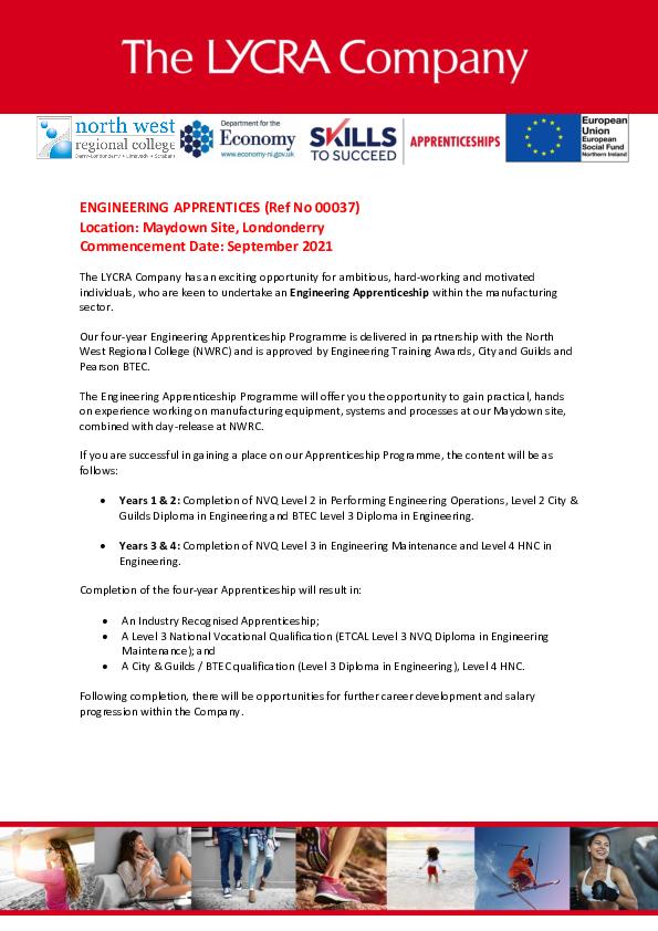 The LYCRA Company Engineering Apprenticeship Programme Advertisement 22062021